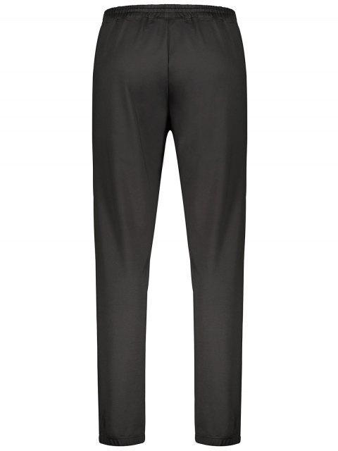 Zipper Pocket Drawstring Sweatpants - Noir L Mobile
