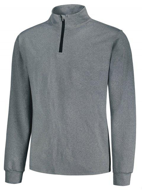 Stand Collar Half Zip Heathered Top - Gris M Mobile