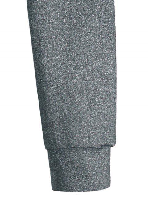 Stand Collar Half Zip Heathered Top - Gris L Mobile