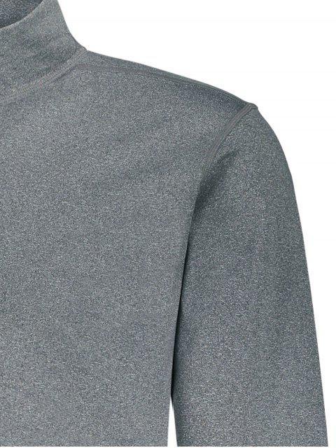 Stand Collar Half Zip Heathered Top - Gris 2XL Mobile
