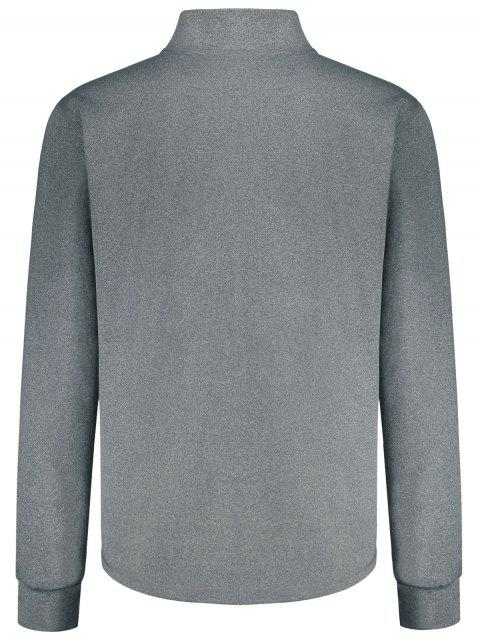 womens Stand Collar Half Zip Heathered Top - GRAY 2XL Mobile
