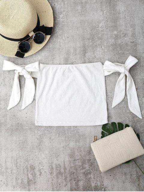 new Bowknot Ribbed Tube Top - WHITE S Mobile