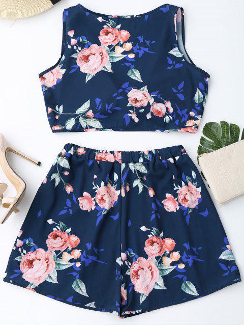 latest Knot Hem Floral Crop Top and Shorts - PURPLISH BLUE M Mobile