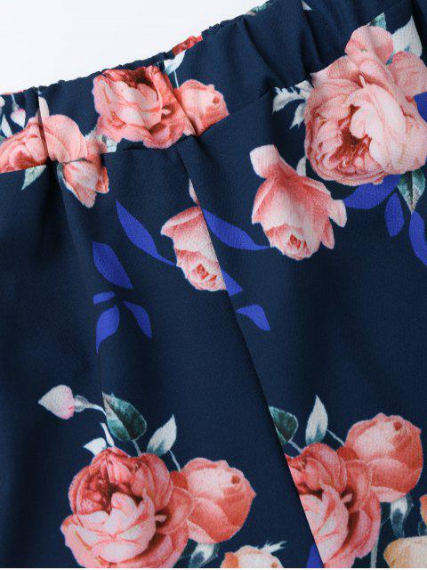 Top croppé floral embelli nud +Shorts - Bleu Violet L Mobile