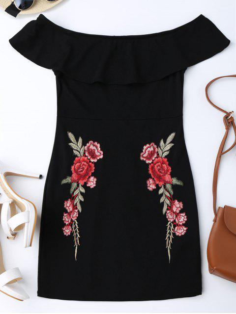 women Embroidered Ruffles Off Shoulder Bodycon Dress - BLACK L Mobile