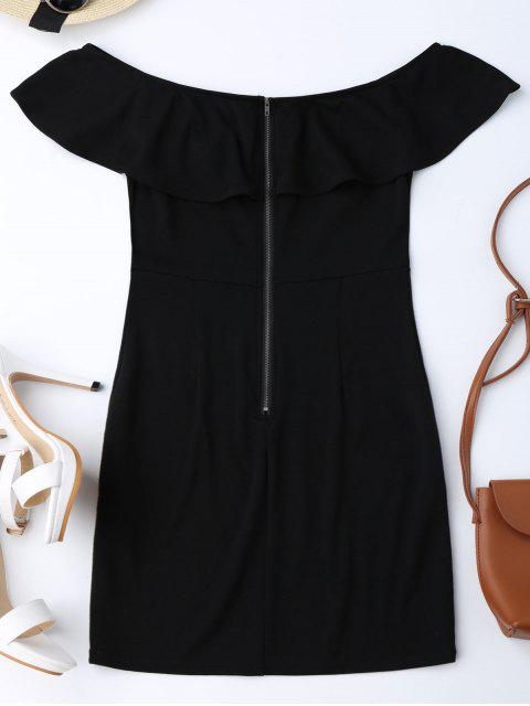 ladies Embroidered Ruffles Off Shoulder Bodycon Dress - BLACK 2XL Mobile