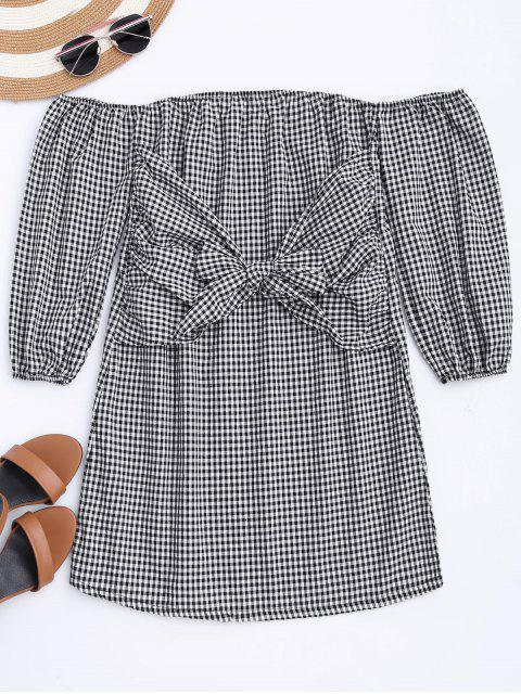 women Off The Shoulder Bowknot Checked Dress - CHECKED M Mobile