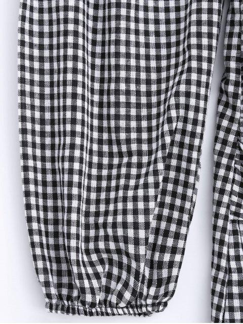 ladies Off The Shoulder Bowknot Checked Dress - CHECKED XL Mobile