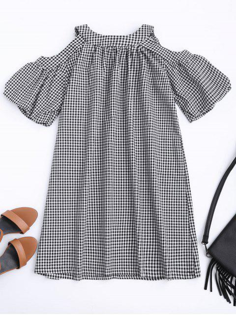 new Cold Shoulder Puff Sleeve Checked Dress - CHECKED XL Mobile
