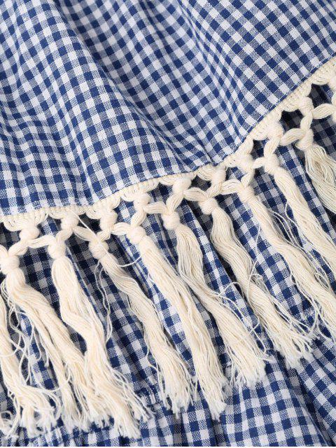 outfits Off Shoulder Printed Tassel Romper - BLUE L Mobile