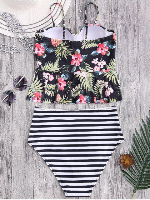 shop Striped Floral Ruffles High Waisted Tankini - STRIPE M Mobile