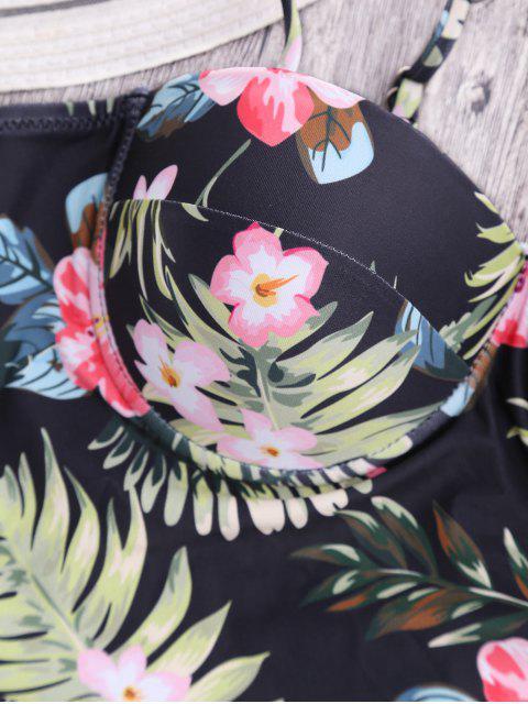 shops Striped Floral Ruffles High Waisted Tankini - STRIPE S Mobile