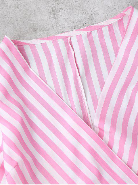 unique Striped Wrap Cropped Top - PINK L Mobile