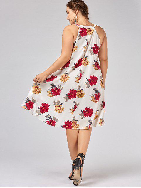 womens Plus Size Floral Overlap Tent Dress - WHITE 2XL Mobile