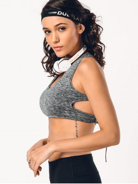 outfits Back Lace Up Space Dyed Sporty Bra - GRAY M Mobile