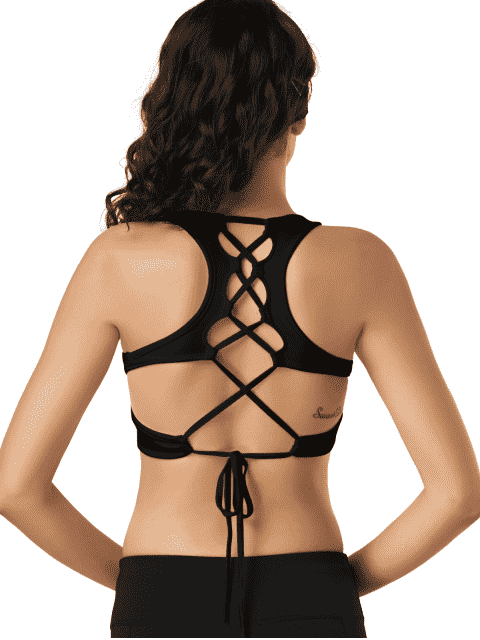 chic Scoop Cutout Lace Up Padded Activewear Bra - BLACK M Mobile