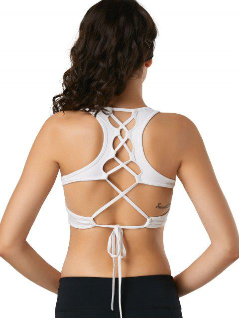 Back Lace Up acolchado deportivo sujetador - Blanco L Mobile