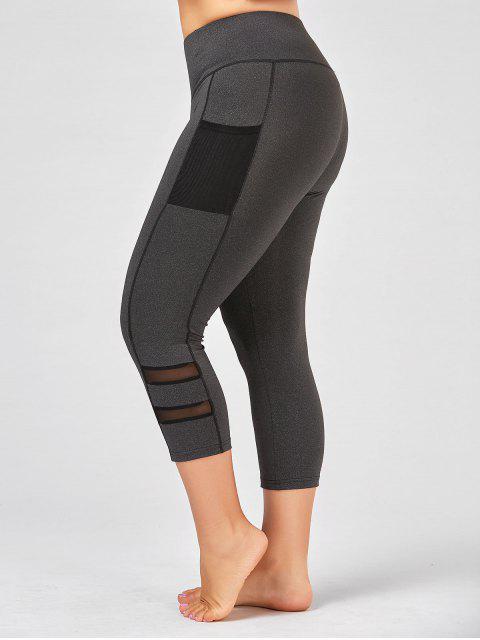 women Plus Size Fishnet Mesh Panel Fitness Leggings - GRAY XL Mobile