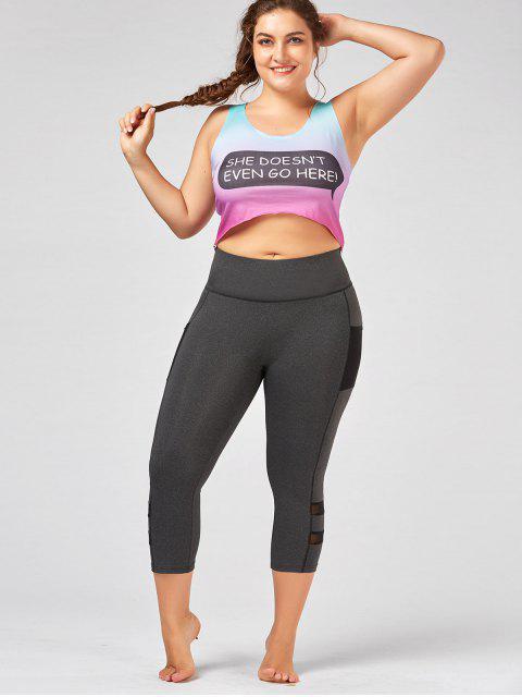 ladies Plus Size Fishnet Mesh Panel Fitness Leggings - GRAY 3XL Mobile