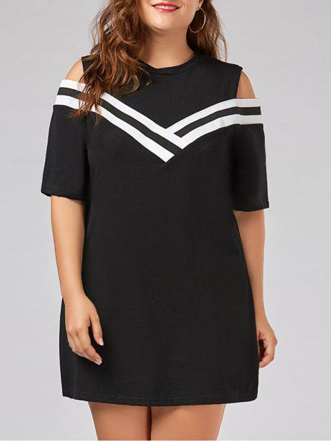 sale Plus Size Stripe Panel Cold Shoulder T-shirt Dress - BLACK 2XL Mobile