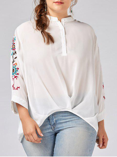 Plus Size Button Gestickte Chiffon Bluse - Weiß XL  Mobile