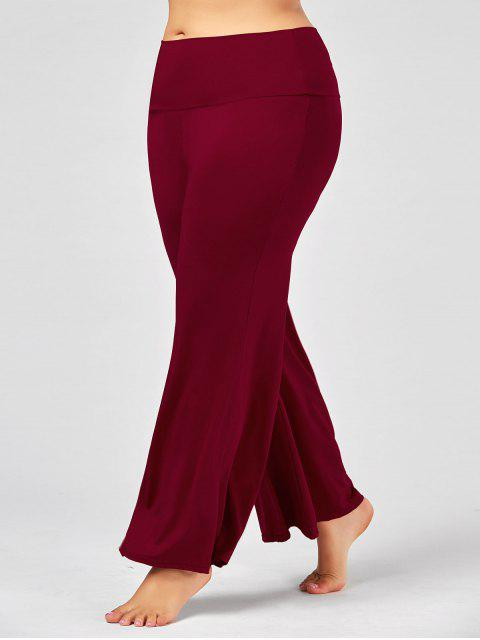 fancy Plus Size High Rise Maxi Palazzo Pants - DEEP RED 2XL Mobile