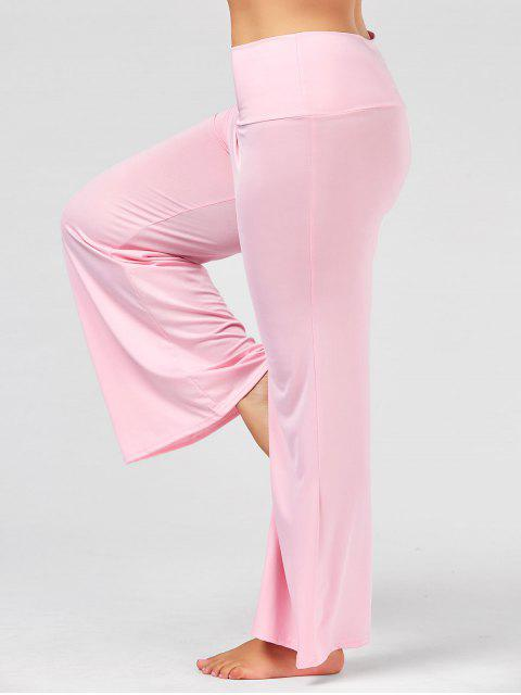 women Plus Size High Rise Maxi Palazzo Pants - PINK XL Mobile