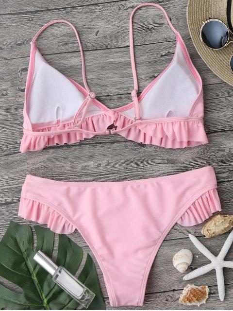 ladies Ruffle Padded Plunge Bikini Set - PINK M Mobile