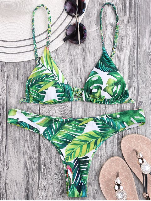 Bikini con Thong con Estampado de Hojas con Tirantes de Trenza - Floral S Mobile