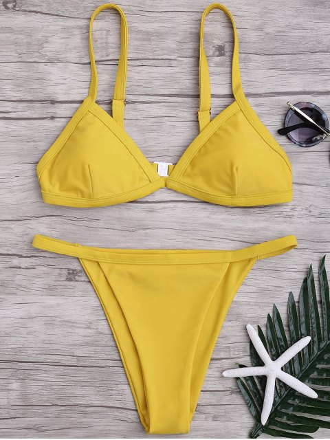 Einfarbiges Spaghetti-Trägern Niedrige Taillen Bikini-Set - Gelb L Mobile
