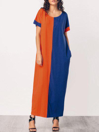 الشرق الأوسط عارضة اثنين من لهجة فستان ماكسي - برتقال + الأزرق M