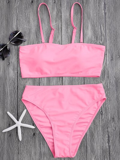 Padded High Cut Bandeau Bikini Set - Pink M