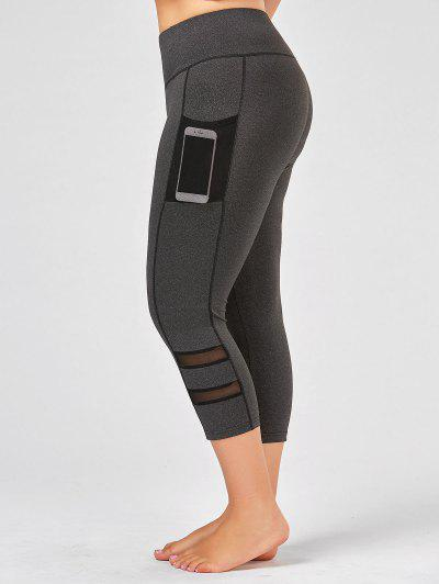 Plus Size Fishnet Mesh Panel Fitness Leggings - Gray 2xl