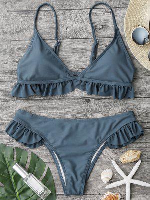 Traje De Bikini Con Escote Pico Con Relleno Con Volantes - Azul Piedra L