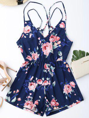 Criss Cross Cami Floral Romper - Purplish Blue S