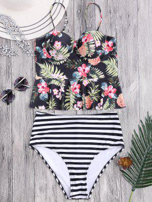 Striped Floral Ruffles hoch taillierte Tankini