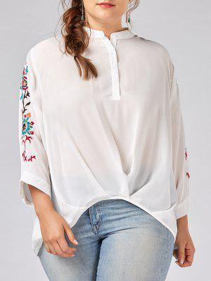 Plus Size Button Gestickte Chiffon Bluse