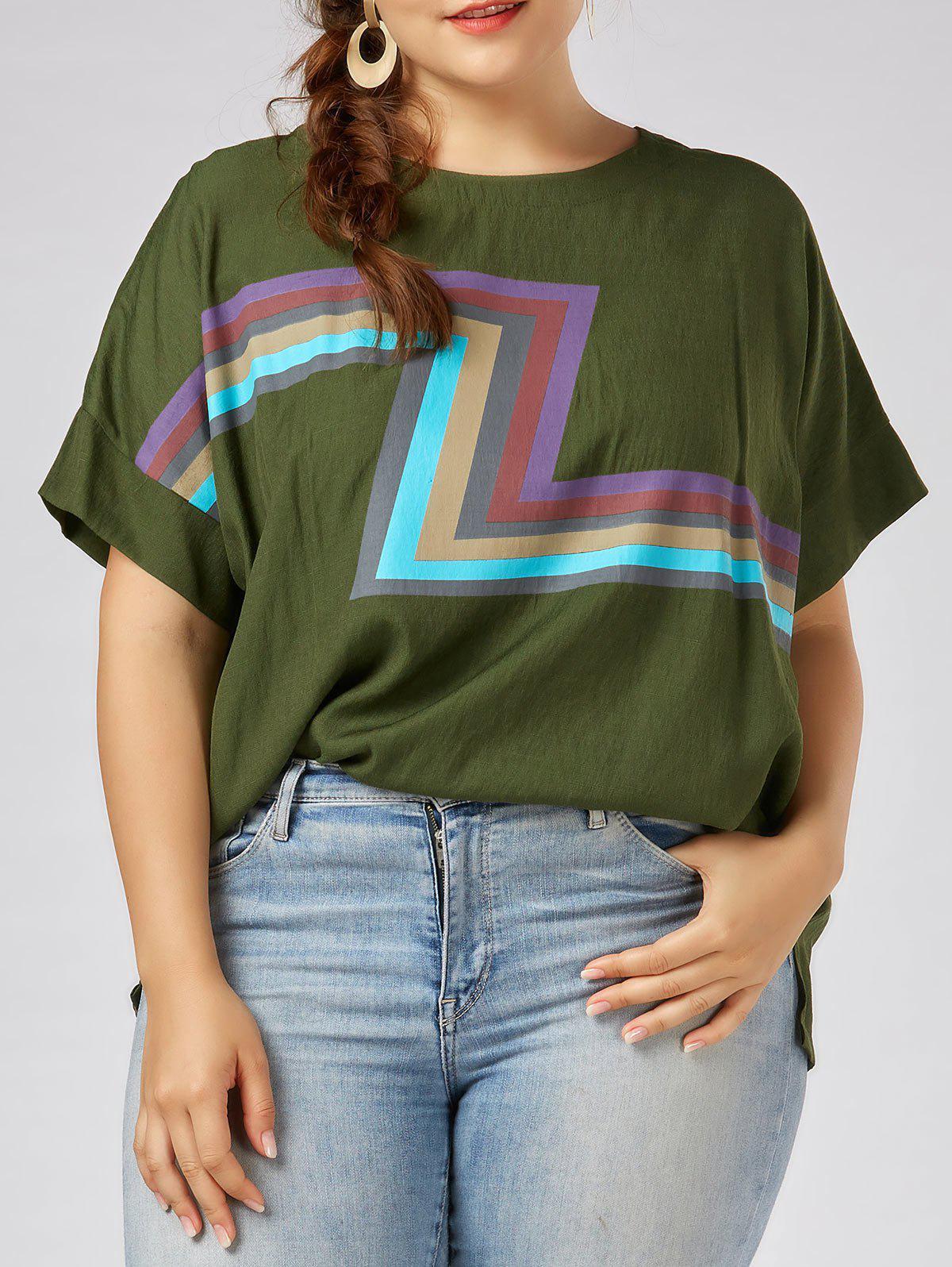 Image of Plus Size Zigzag Graphic Plain T-shirt