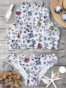 Tapa Y Bikini De Bikini Recortado Con Cremallera Acolchada - Blanco L