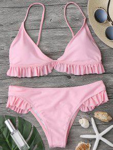 Traje De Bikini Con Escote Pico Con Relleno Con Volantes - Rosa M