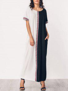 فستان ماكسي مطرز لوحة بأسلوبين - أبيض وأسود M