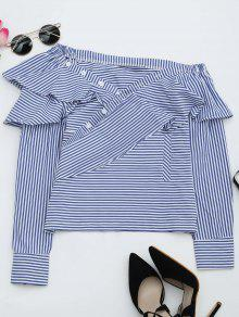Convertible Collar Ruffle Hem Striped Blouse - Stripe L