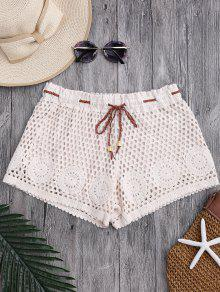Laser Cut Drawstring Crochet Cover Up Shorts - Off-white