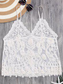 Cami Floral Crochet Cover Up Top - Off-white