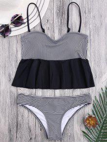 Cami Striped Ruffles Peplum Tankini - Stripe L