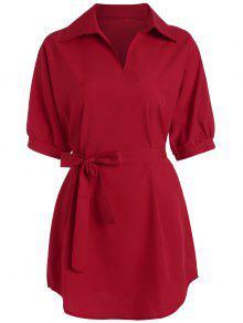 Chemise Grande Taille Col En V Longue Avec Ceinture - Rouge 5xl