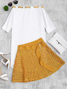 Asymmetric Dress And Lace Wrap Skirt Set - Yellow S
