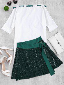 Vestido Asimétrico Y Falda De Encaje Envuelta Conjunto - Verde Negruzco Xl