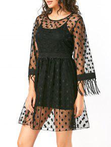 فستان دانتيل شير عالية الخصر البولكا نقطة - أسود M