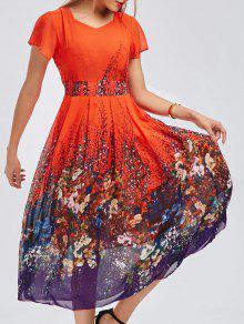 Vestido Bohemio Floral Midi Gasa Estampado  - Jacinto Xl